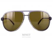 Nouvelles solaires Gucci GG 15. Montures aviateur en acétate de cellulose gris transparent. Verres brun 100% anti UV.