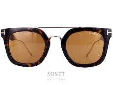 Les lunettes solaires Tom Ford Alex TF541 sont de très belles lunettes solaire en acétate écailles. Elles sont montée avec un double pont en métal doré. Les verres sont marrons de catégorie 3.