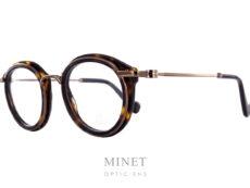 Moncler ML5007. Monture optique combinée métal doré et acétate imitation écaille de tortue.
