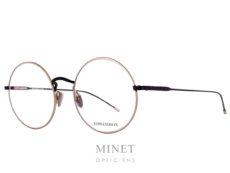 Monture optique Edwardson Ivy. Monture ronde en métal or et noir. Les lunettes Edwardson sont fabriquées en Italie, entièrement à la main à partir des plus belles plaques d'acétate de Mazzucchelli. Dans cette collection, le label de qualité handcrafted est primordial. Le style « Chic – Trendy » d'Edwardson mêle l'esprit vintage avec la passion pour le design moderne.