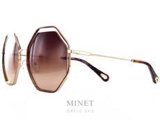 Les Lunettes Chloé CE132S sont de grandes lunettes en métal pour dames. les verres dégradés brun forment un très joli jours avec la face pour nous donner une impression de légèreté très esthétique. Les fines branches dorées contribuent à l'impression de légèreté de l'ensemble.