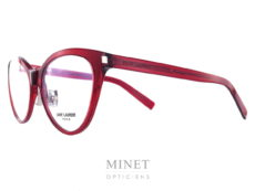 """Les Saint Laurent SL 117 Slim sont de superbe lunettes optique pour dames de forme papillonnantes et de couleur rouge. Cette Saint Laurent SL 117 Slim est dites """"sllim"""" car elle est fabriquée grâce à une nouvelle technologie qui permet d'affiner la monture tout en gardant sa solidité, ce qui nous donne un très beau résultat et nous rend la monture fine et élégante."""