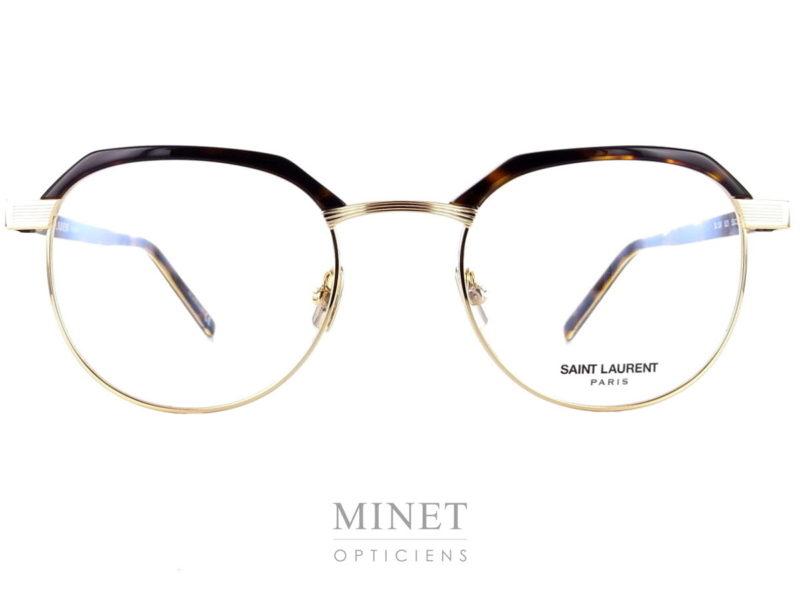 Saint Laurent SL 124. Montures vintage en métal doré réhaussées de sourcils de couleurs écaille.