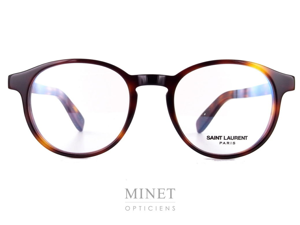 Saint Laurent SL 191. Monture optique pour hommes de forme pantoscopique et de couleur écailles de tortue.