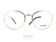 """Saint Laurent SL 236. Lunettes optiques métal pour dames. De formes vintage, la monture est en métal doré. Les """"sourcils"""" renforçant le style vintage sont aussi dorés."""