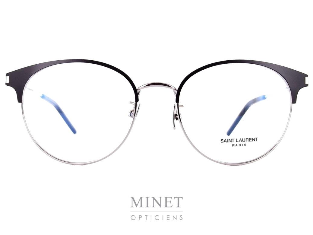 """Saint Laurent SL 236 Argent. Lunettes optiques métal pour dames. De formes vintage, la monture est en métal argentée, et les """"sourcils"""" renforçant le style vintage sont noire."""