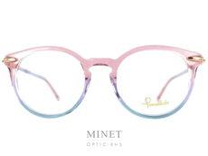 Les lunettes optiques Pomellato PM38O sont de grandes lunettes pour dames de forme papillon et de couleurs rose et bleue transparentes. Collection du fameux bijoutier italien haut de gamme, les lunettes Pomellato sont, comme leurs bijoux, belles, originales et très élégante.