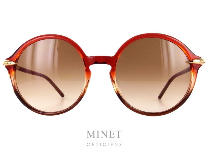 Les Pomellato PM38S sont de grandes lunettes solaires rondes, montées de verres dégradés bruns.