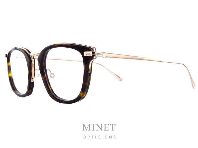 Tom Ford 5496. Lunettes optique vintage pour hommes. Les Tom Ford 5496 sont de style rétro, de couleur écailles. La face est combinée avec une armature en métal doré qui compose le pont et les branches.