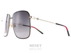 Les Gucci 394S sont de très grandes lunettes de soleil oversize en métal doré soulignée par un liseret noir donnant plus de caractères à l'ensemble.