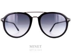 Tom Ford Ruppert. Lunettes de soleil vintage combinées acétate de cellulose et métal et de forme pilote double pont. Les verres sont 100% UV.