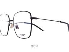 Saint Laurent SL314. Grandes lunettes optiques en métal de forme rectangulaire oversize. Très légères et élégantes, ces montures font penser aux lunettes portées dans les années 80.