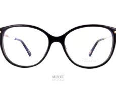 Chopard VCH216 B. Très belles lunettes luxueuses pour dames. La forme est assez classique avec sa face noire et ses branches brillantes décorées tel un bijoux des grands soirs. Vous aurez une paire de lunettes très harmonieuse, élégante et chic.