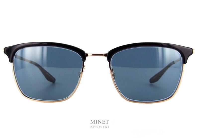 Barton Perreira Atkins. Très belles lunettes solaires de luxe pour hommes. Ici, le style est typique des années cinquante. La monture en métal doré est rehaussé de sourcils noirs en acétate de cellulose.
