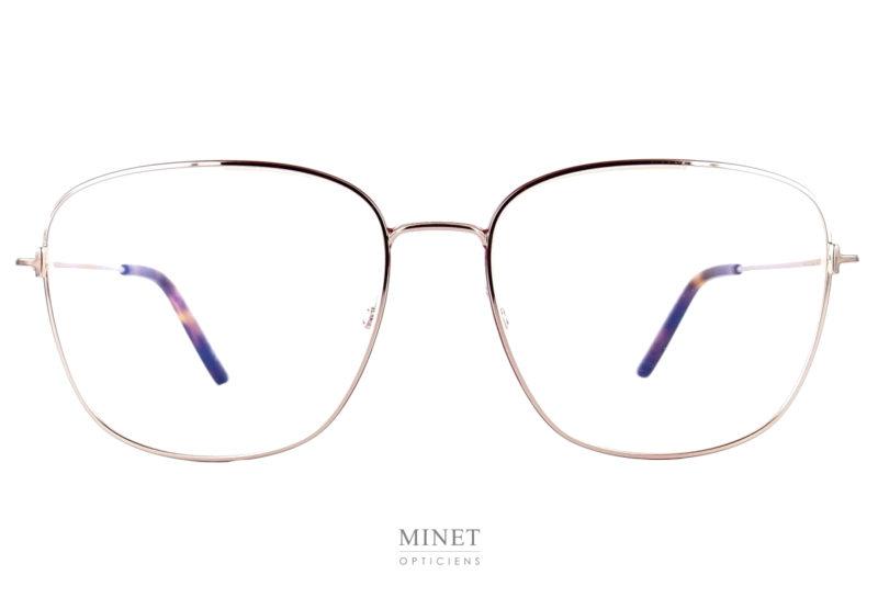 es Tom Fod 5572 sont de grandes lunettes optique en métal. Elles sont fine et rectangulaire de couleur doré, les cerclages des verres sont décorés d'un fin liseré de couleur rouge.