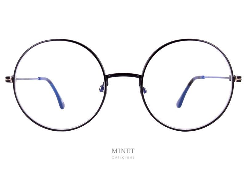 """Les Tom Fod 5595-B. Lunettes rondes unisexe. Ces lunettes en métal noir ont les verres très rond appelés """"roues de vélo""""."""