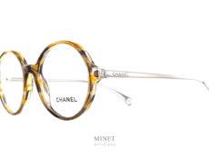 Chanel 3398 c1659. Lunettes optiques rondes et fines. Elles sont combinée avec une face en acétate et des branches en métal.