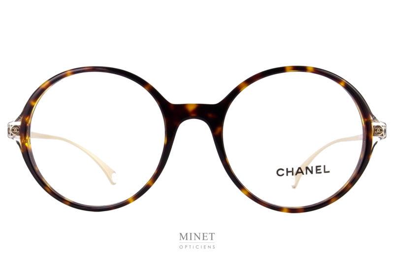 Chanel 3398. Lunettes optiques rondes et fines. Elles sont combinée avec une face en acétate et des branches en métal.