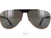 Zilli 65021. Lunettes solaires pilote de luxe. Ces lunettes pilote sont faites avec des finitions exceptionnelles digne de la marque. Les double pont à été comblé par une très belle pièce en cuir, marque de fabrique de la marque.