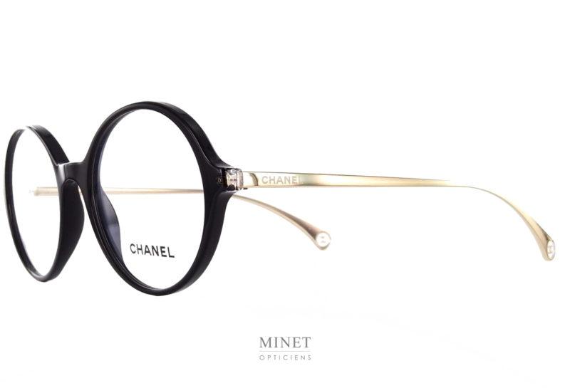 Lunettes Chanel 3398 c501. Lunettes optiques rondes et fines. Elles sont combinée avec une face en acétate et des branches en métal.