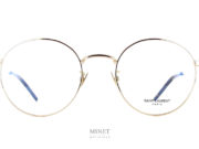 Lunettes Saint Laurent SL 237 gold. Petites lunettes en métal de forme pantos. Confortables fines et légères, elle vous offrent un style vintage délicieusement 90's.