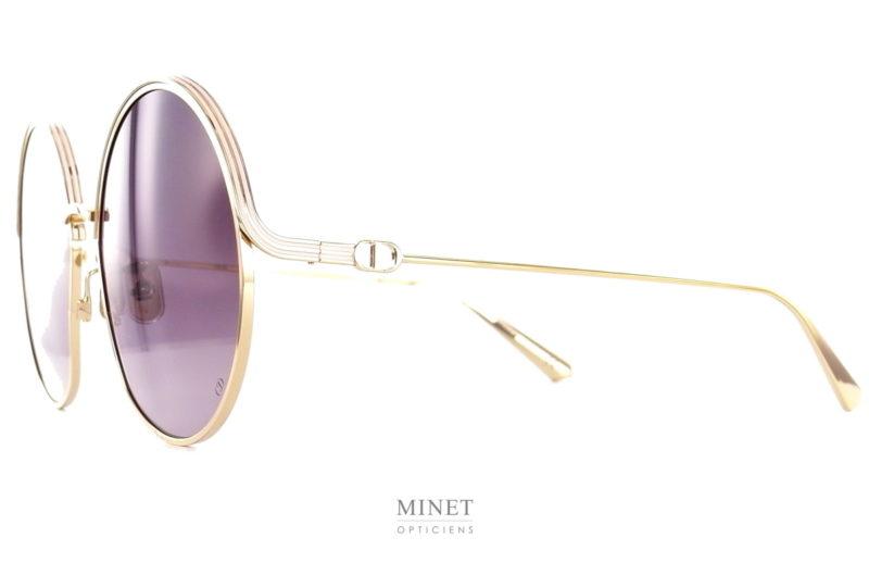 Les solaires Dior Everdior sont de grandes lunettes rondes en métal doré. dans le plus pure style vintage, un véritable retour des 60's.