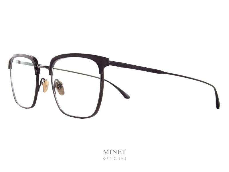 Masunaga Collins. Monture optique hommes en titane. Inspirée des années 50 avec les sourcils surépaissis. Très belles lunettes légères et solides.