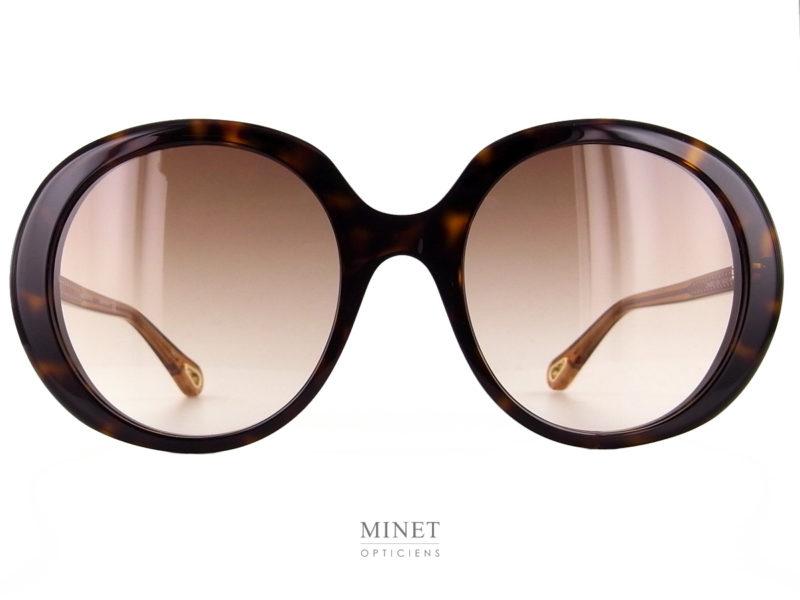 Lunettes solaires Chloé CH0007S. Très belles lunettes de soleil combinée. La face grande et ronde est en acétate de cellulose alors que les branches sont en métal doré.