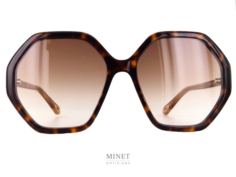 Lunettes solaires Chloé CH0008S. Très belles lunettes de soleil de forme heptagonale. La face en imitation écaille de tortue est combinée a de très jolies branches de couleur miel.