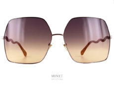 Grandes lunettes de soleil très légères de formes carré. Les grands verres sont montés de branches en forme de serpentin. Telles sont les lunettes de luxe Chloé Ch0054S.